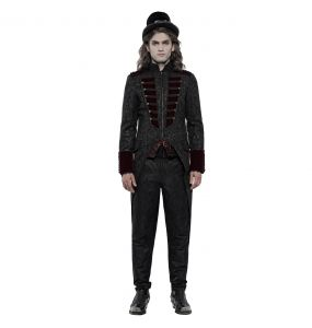 Black Brocade and Burgundy Velvet 'Silvanus' Swallowtail Jacket