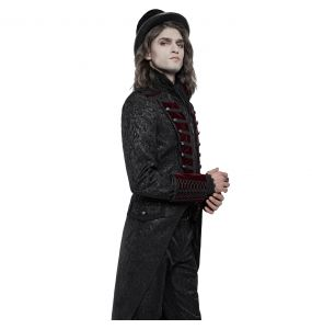 Veste Queue de Pie 'Silvanus' en Brocart Noir et Velours Bordeaux