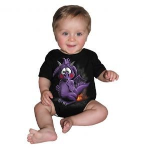 Black 'Dragon Relief' Baby Sleepsuit