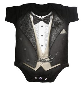 Black 'Tuxed' Baby Sleepsuit
