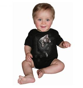 Black 'Pocket Kitten' Baby Sleepsuit