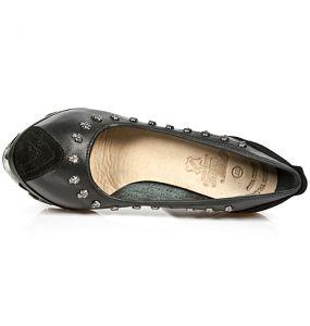 Black Nomada Leather and Velvet New Rock Magneto Shoes