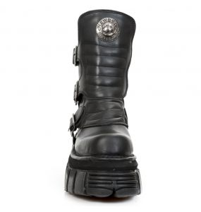 Black Nomada Leather New Rock Metallic Tower Ankle Boots