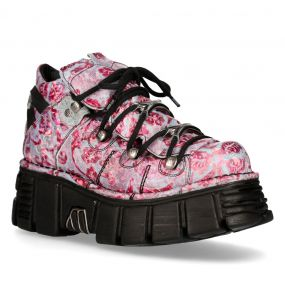 Chaussures New Rock Metallic Vintage Flower Lilas et Roses