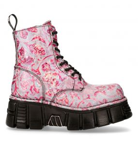 Bottines Plateformes New Rock Newmili Lilas et Roses