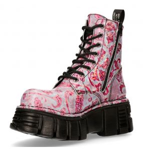 Lilas and Pink New Rock Newmili Platform Ankle Boots