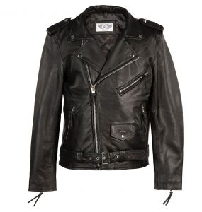 Black 'Brando' Leather Males Jacket