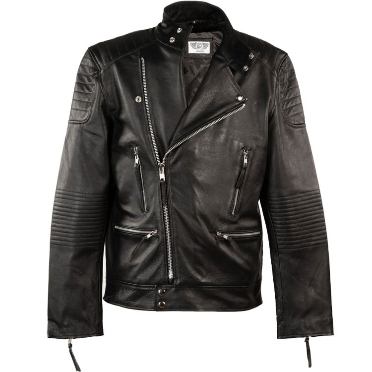 Black Leather 'New Brando' Males Jacket