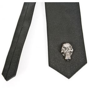 Black Leather Tie with Skull