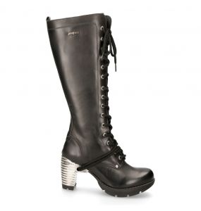 Black Itali Leather New Rock Trail High Boots