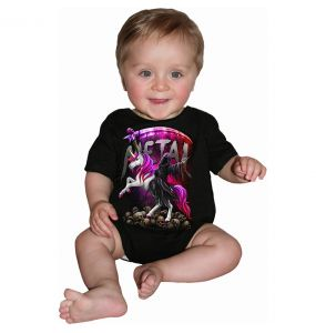 Black 'Metallicorn' Baby Sleepsuit
