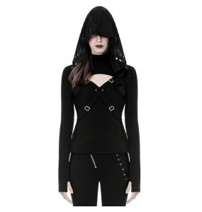 Black Long Sleeves 'Acantha' Hooded Top