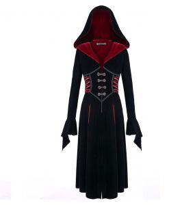 Black and Red Long 'Aramantha' Coat