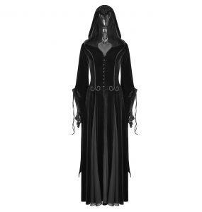Black Hooded 'Lady De La Morte' Coat-Dress