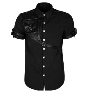 Black Steampunk 'Aviator' Shortsleeve Shirt