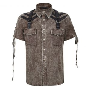 Brown Steampunk 'Apocalypse' Shortsleeve Shirt