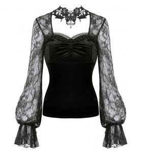 Black Velvet and Lace ''Amoret' Top