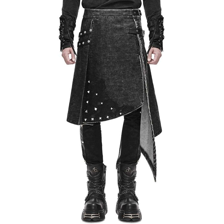 Anthracite Black 'Golgotha' Skirt Kilt