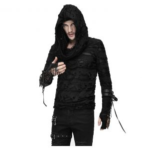 Black 'Gothic Damage' Hoodie Top