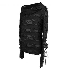 Black 'Gothic Damage' Hoodie Top