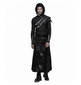 Black Faux Leather 'Viserion' Male's Long Skirt