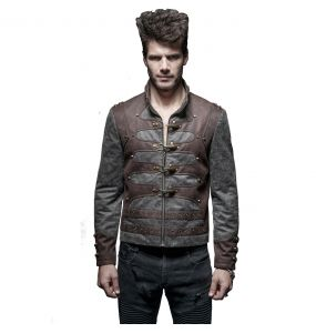 Black Washed 'Aviator' Steampunk Style Short Jacket