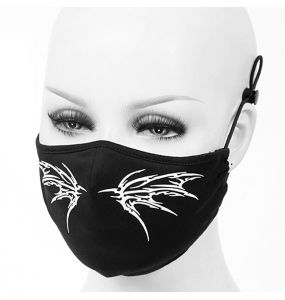 Black 'White Butterfly' Face Mask