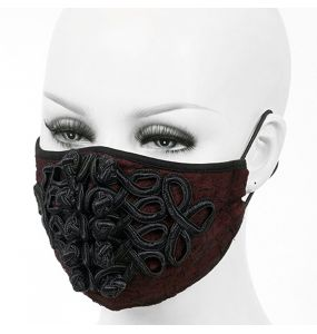 Burgundy 'Black Twists' Face Mask