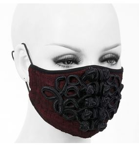 Burgundy 'Black Twists' Face Mask