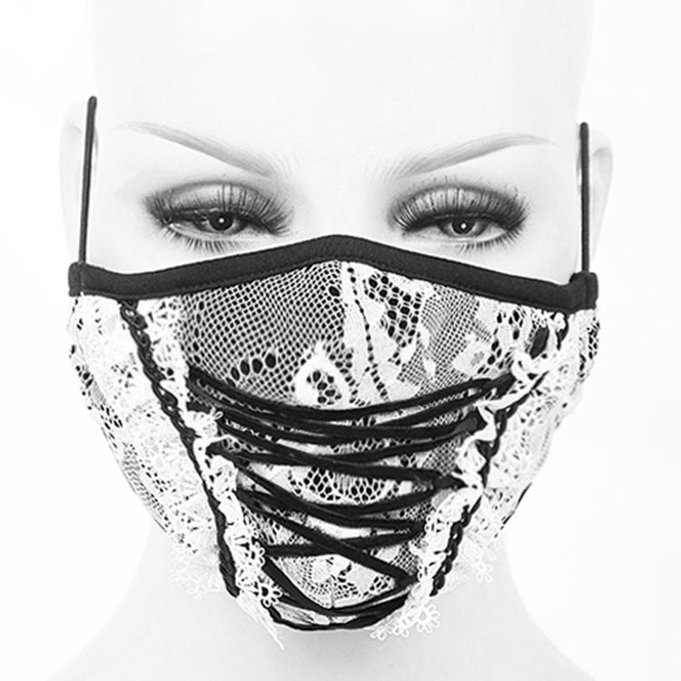 White and Black 'White Lace' Face Mask