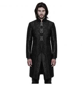Black Brocade Three Quarter 'Valter' Coat