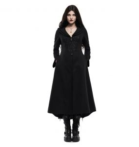 Black Embroidered 'Maelyss' Long Gothic Coat