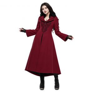Long Manteau Brodé 'Maelyss' Rouge