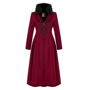 Red Embroidered 'Maelyss' Long Gothic Coat