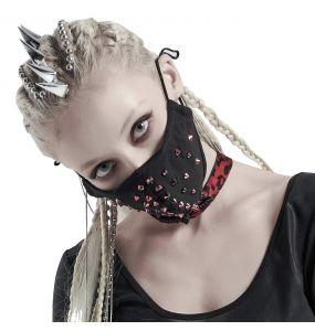 Masque 'Rebellion' Noir avec Spikes Rouges