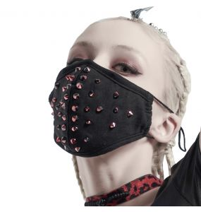 Black 'Rebellion' Face Mask with Red Spikes