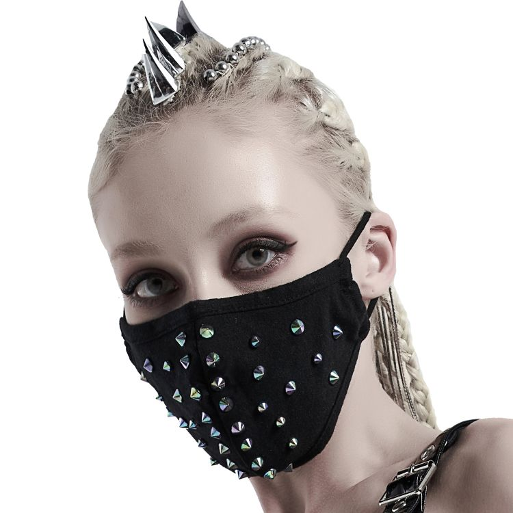 Black 'Rebellion' Face Mask with Blue Spikes