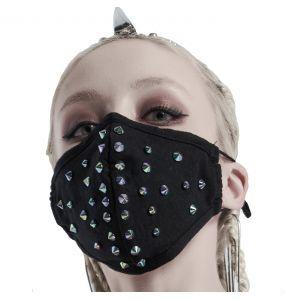 Masque 'Rebellion' Noir avec Spikes Bleus
