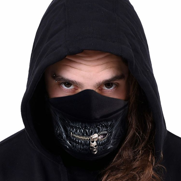 Black 'Zipped Mouth' Face Mask