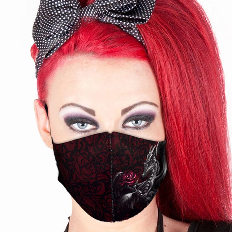 Black and Red 'Dragon Rose' Face Mask