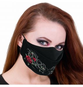 Black 'Tribal Rose' Face Mask