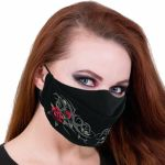 Black 'Tribal Rose' Face Mask