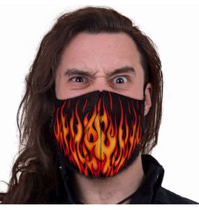 Black 'Tribal Flames' Face Mask