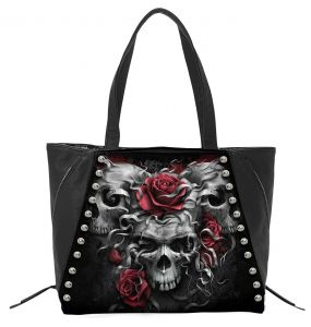 Black 'Skulls N' Roses' PU Leather Tote Bag