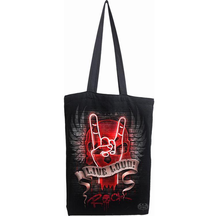 Black Cotton 'Live Loud' Tote Bag
