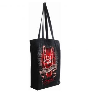 Black Cotton 'Live Loud' Tote Bag
