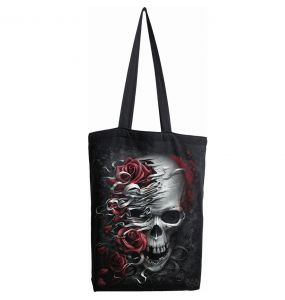 Black Cotton 'Skulls N' Roses' Tote Bag