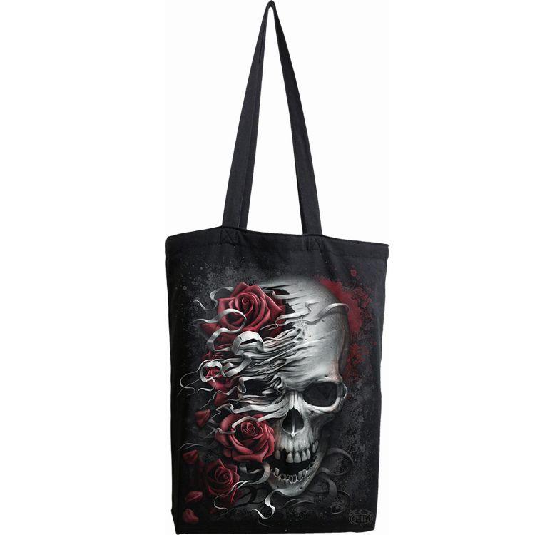 Black Cotton 'Skulls N' Roses' Tote Bag