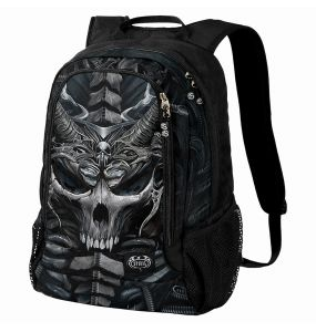 Black 'Skull Armor' Back Pack with Laptop Pocket