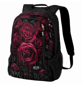 Black 'Blood Roses' Back Pack with Laptop Pocket